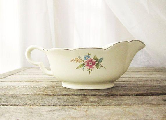 Vintage Floral Gravy Boat  Ceramic Rustic Decor by LaRouxVintage, $26.00