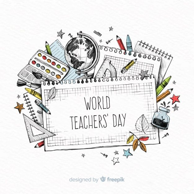 World Teachers Day Composition Free Vector Freepik Freevector School Education Student World In 2020 Teachers Day World Teachers World Teacher Day