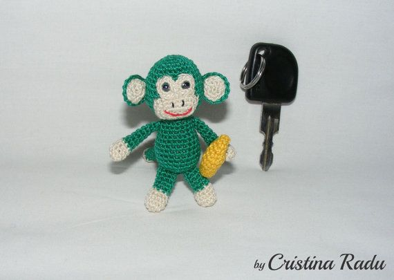 Amigurumi Monkey Keychain : Monkey banana keychain, little Monkey, crochet Monkey ...