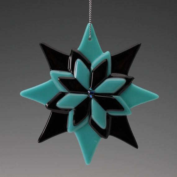 """Black and Teal with Dichroic Accents  Ornament 4"""", fused glass, gift,"""