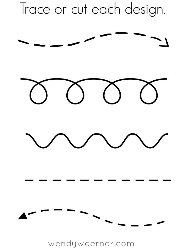 free printable cut trace preschool worksheet - Free Printable Toddler Worksheets