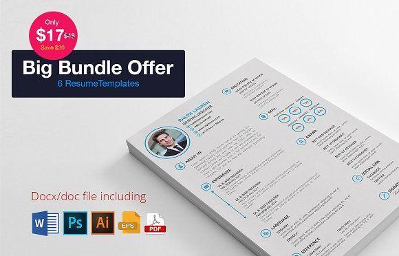 6 Resume Bundle Offer Resume Design Template Resume Templates Resume Design