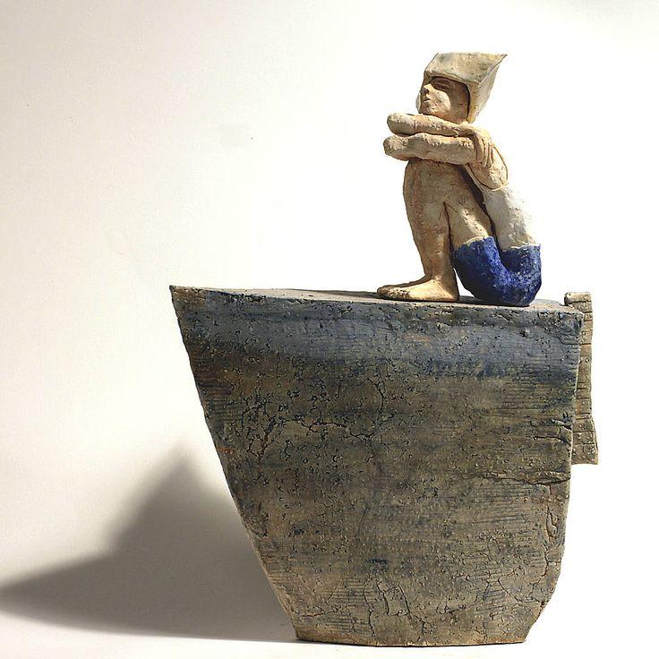 My maritime childhood, Boat, Ceramic Sculpture, Unique Ceramic Figurine, figurine by arekszwed on Etsy