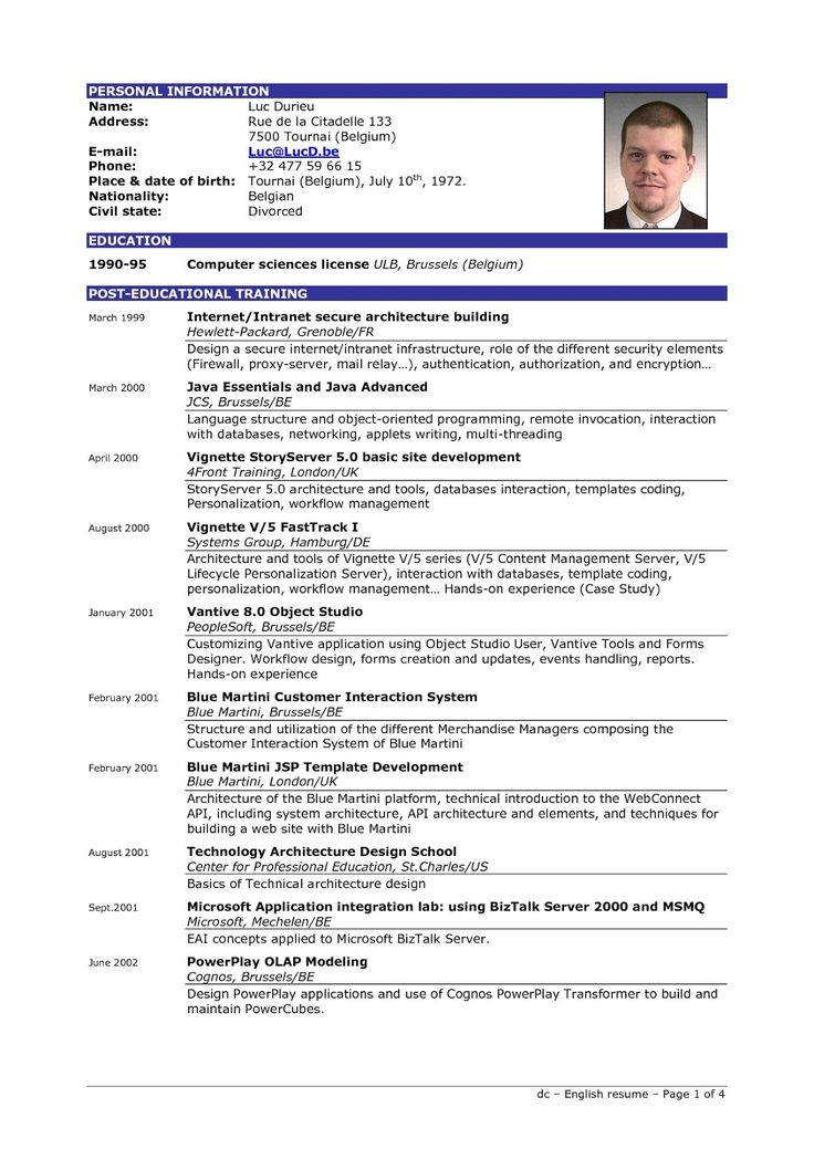 Resume Layout Examples 2020