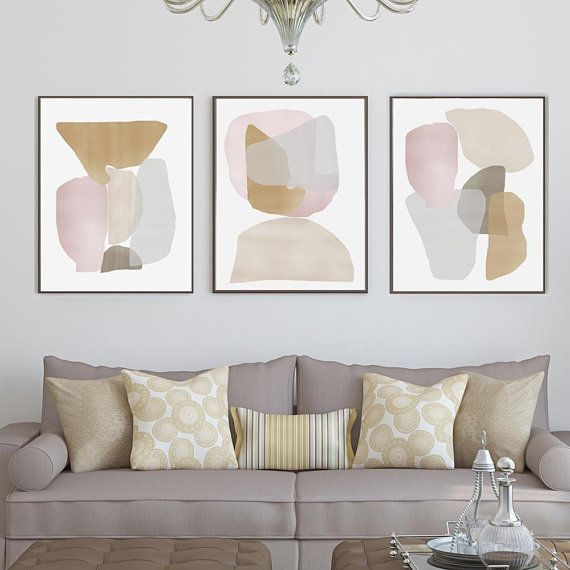 Neutral Abstract Art Set Of 3 Prints Shapes Art Beige Poster Etsy Pastel Wall Art Living Room Art Pastel Walls #neutral #wall #art #for #living #room