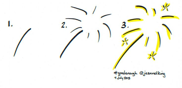 How to draw a Good Enough exploding firework or sparkler - tutorial by Jeannel King