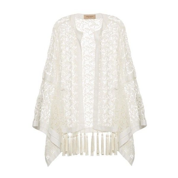 Adriana Degreas Tasselled-hem guipure-lace kaftan ($640) ❤ liked on Polyvore featuring tops, cardigans, jackets, outerwear, kimonos, white, white lace top, floral print tops, tassel top and kaftan tops
