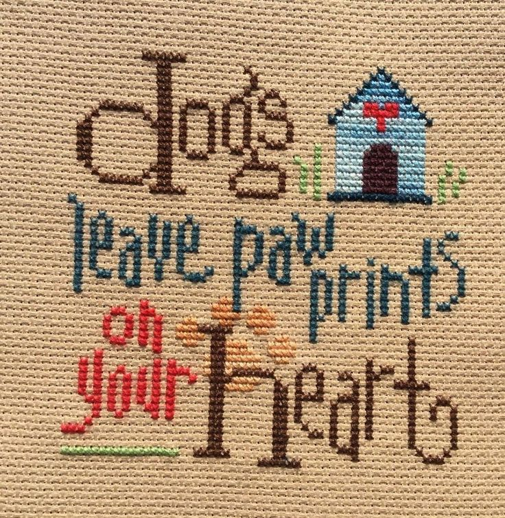 completed finished cross stitch Lizzie Kate DOGS leave a POW prints your Heart  | eBay