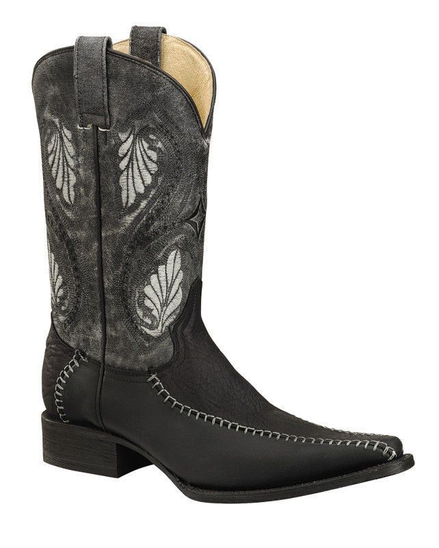 Mens Western BOOTS Black Elephant Print Exotic Leather Cowboy Shoes size 10 #Handmade #CowboyWestern