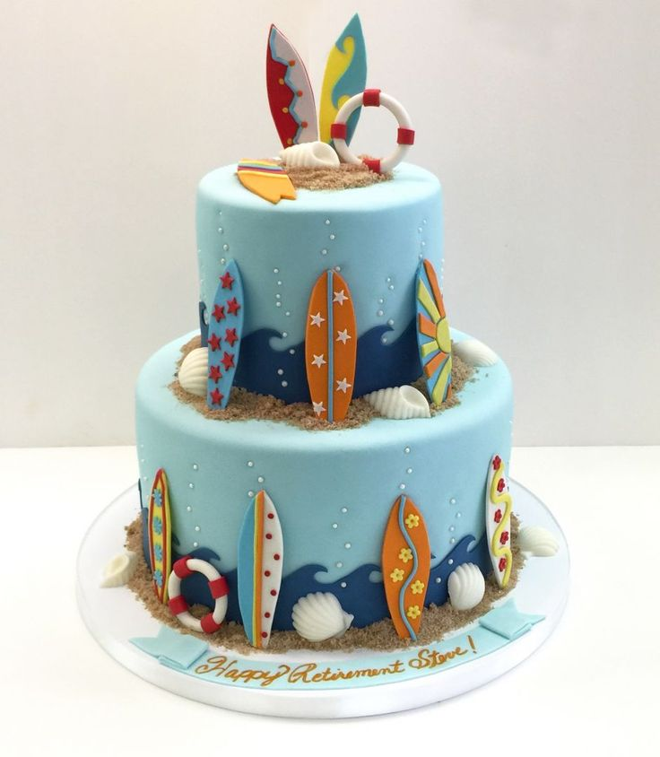 Fondant Surf Themed retirement cake with fondant details by Frost It Cakery