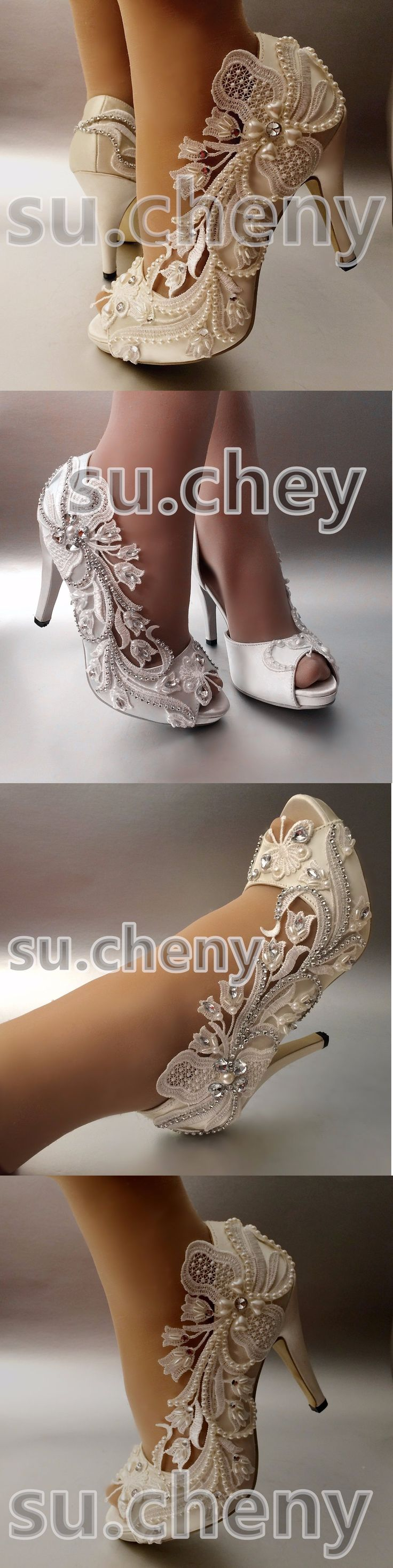 Wedding Shoes And Bridal Shoes: 34 Heel Satin White Ivory Lace Bell Flower Peep Toe Wedding Shoes Size 5-9.5 BUY IT NOW ONLY: $59.99