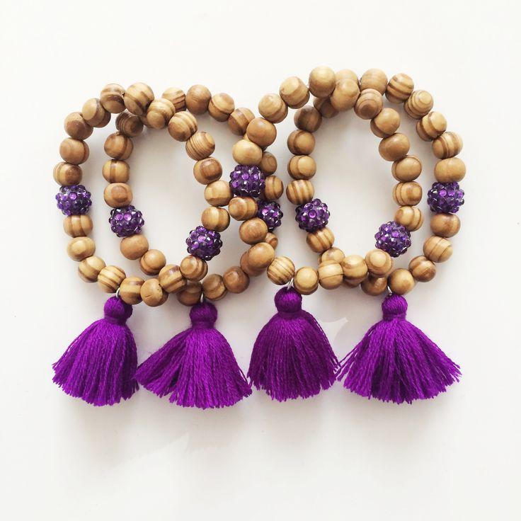 Purple tassel - beaded bracelet