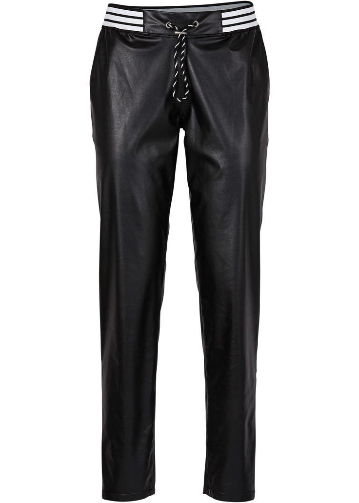 Bonprix Collection - RAINBOW Suni deri pantolon - Siyah
