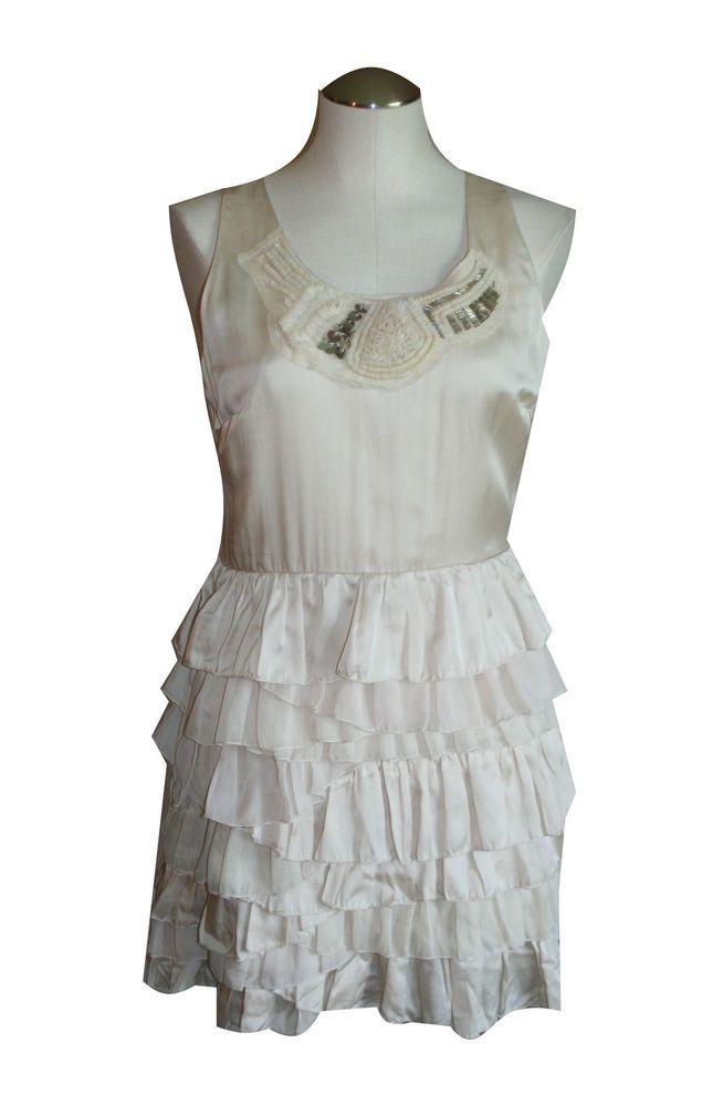 Anthropologie Esley Dress Medium M Ivory Tiered Sleeveless Above Knee Clubwear #Esley #Shift #Clubwear