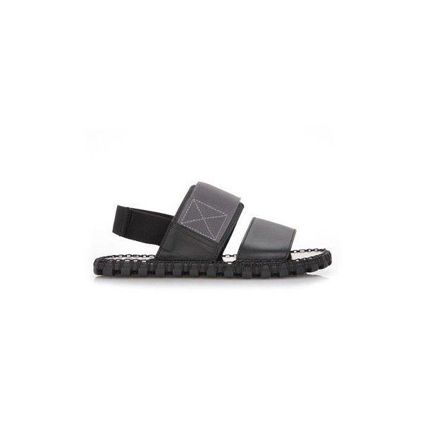 VALENTINO GARAVANI Sandals With Bands ($349) ❤ liked on Polyvore featuring men's fashion, men's shoes, men's sandals, black, mens black sandals, valentino mens shoes and mens black shoes