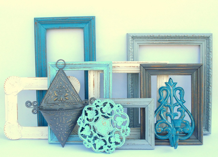 Dorchester Collection - aqua, teal blue, antique white, gray grey - 10 painted upcycled shabby cottage chic - frames frame sconce. $82.00, via Etsy.
