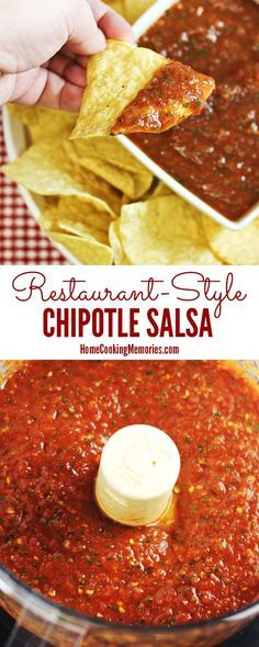 This Restaurant-Style Chipotle Salsa recipe couldn't be easier! Made with tomatoes, cilantro, lime juice, garlic, onions, and smoky chipotle peppers. Get those tortilla chips ready because you'll be dipping in no time!