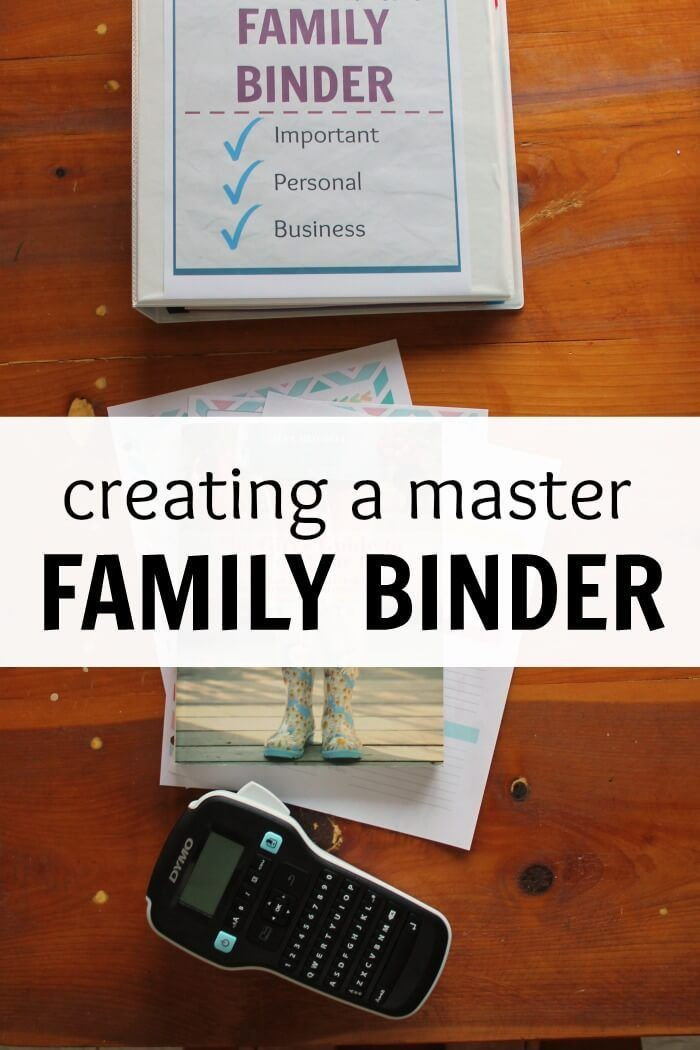 Creating a master family binder. It's good for organization for the household manager.