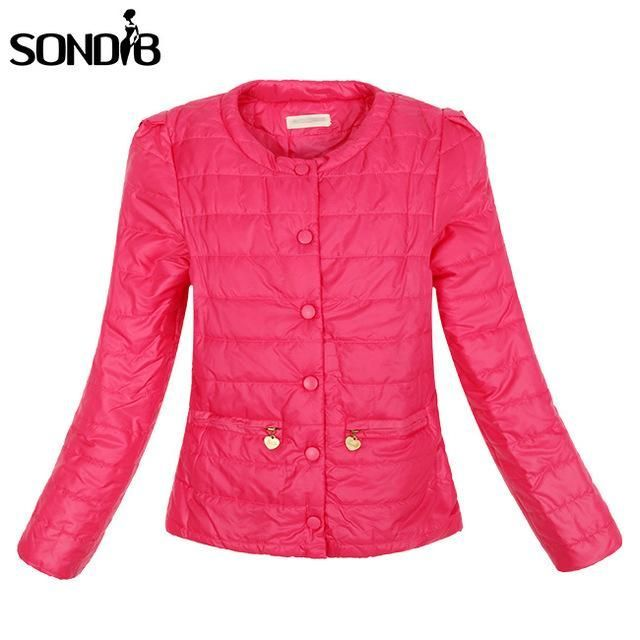 New 4 Colors Warm Winter Jacket Women New Fashion Slim Thin Ultra Light O-neck Ladies Parkas Coat Outwear Rose Red
