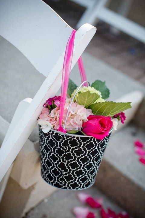Wedding Isle Decor Fabric Covered Galvanized Pail by BroddersTubs, $12.00