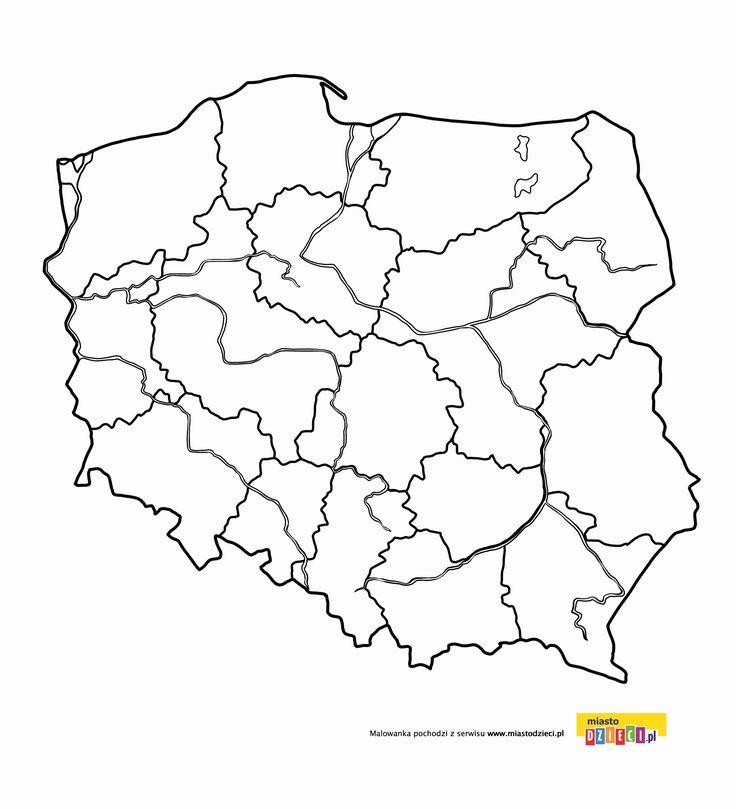 Kolorowanka - Mapa Polski