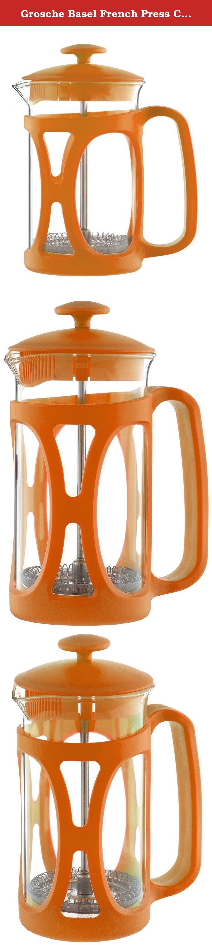 Grosche Basel French Press Coffee and Tea Maker (Large - 800 ml, Orange). THE BASEL FRENCH PRESS IN LOTS OF GREAT COLORS! This French Press Brews the tastiest coffee and tea and gives a bold and fun look and presence to your table top. That's the BASEL French press coffee and tea maker by GROSCHE. A uniquely designed and crafted French Press with fine Stainless Steel 3 Plate Filter Press System makes for a wonderful coffee and tea making experience. WHAT IS A FRENCH PRESS? Commonly known…