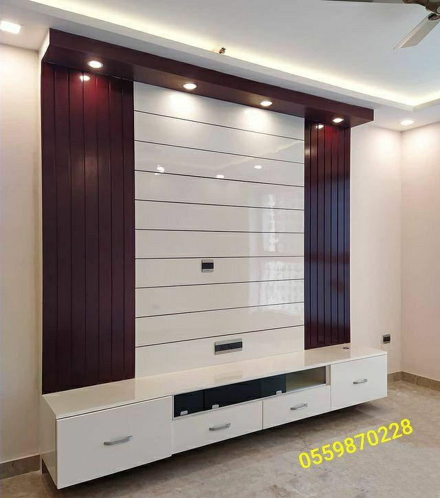 Pin By ديكورات خشبية حديثة On ديكورات خشبية In 2021 Tv Unit Interior Design House Ceiling Design Tv Room Design