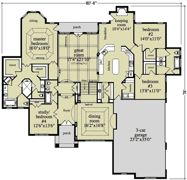 Ranch house plans 3 car garage house design plans for Ranch floor plans with 3 car garage