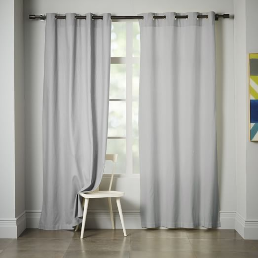 Linen cotton grommet curtain platinum west elm for for West elm window treatments