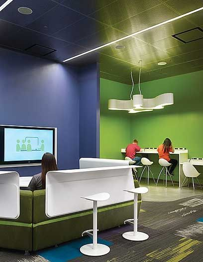 "The cutting-edge Teen Place at Schaumburg Township District Library, IL, was converted from underused storage to provide a café area, gaming stations, and ""very, very, very cool furniture."" CREDITS: Dewberry, architect; Mariusz Mizera, photo. Source: Library Journal, http://lj.libraryjournal.com/2013/11/buildings/year-in-architecture-2013-fabulous-functional/"