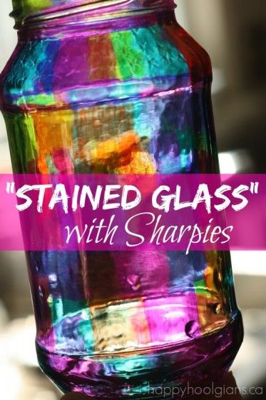 Stained Glass Jar with Sharpies