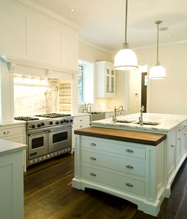 Countertop Filler : , white glass-front kitchen cabinets, marble countertops, pot filler ...