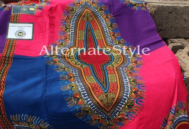 Multi  Color Dashiki Fabric  4 Color Grid Dashiki