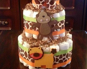 Gender Neutral Baby Shower Mini Diaper Cake by StorkandCo on Etsy