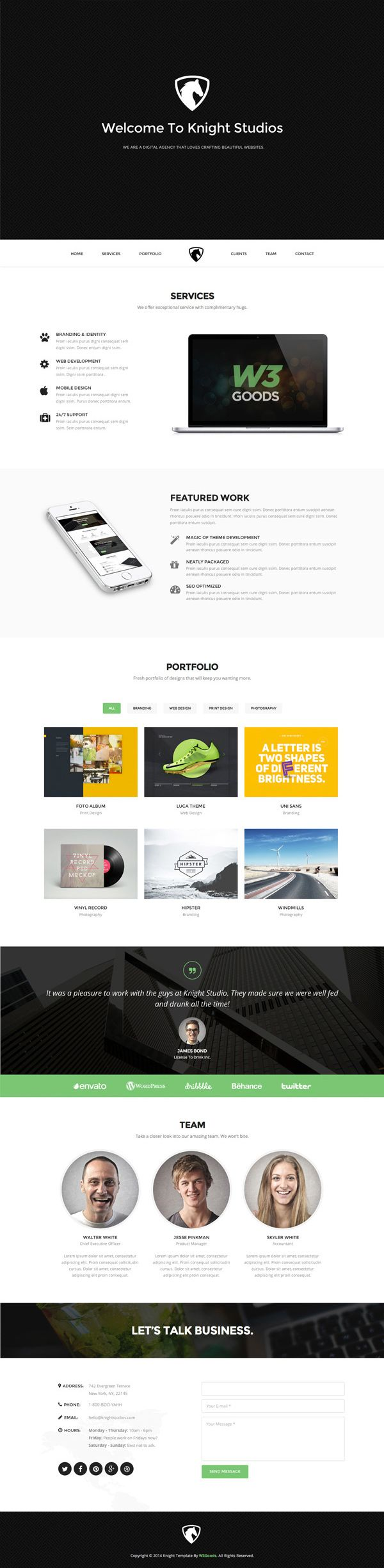 Knight – Free Bootstrap Theme | GraphicBurger