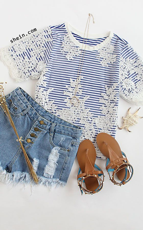 Blue Short Sleeve Lace Crochet Splicing Stripe T-shirt
