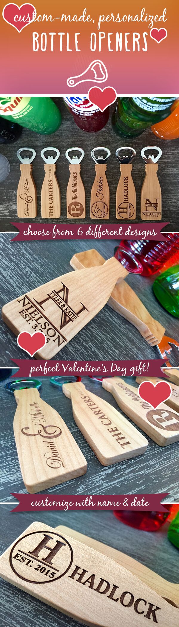 Looking for the perfect gift for your Valentine? These incredible, personalized bottle openers make the perfect gift and are ON SALE for a fantastic price! Made from 100 percent maple, they are highly durable and will look fantastic displayed on any magnetized surface! Simply provide us with the names and dates desired and we will do the rest!