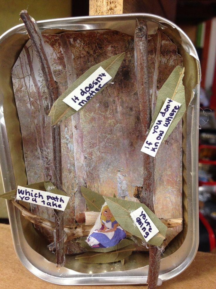 Grade 5 and 6 Sardine Can Diorama. Lost theme. Alice in Wonderland lost in the bush.