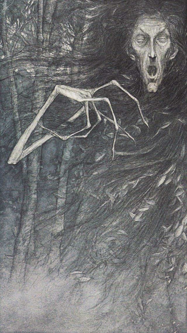 "Birch tree -illustration by Brian Froud from ancient western folk lore researched by Alan Lee. Known as ""the one with the white hand"". If the hand touches ones head, it will leave a vivid wight mark & inflict madness, but if those long spindly fingers happen to touch ones heart, then that is the touch of death."
