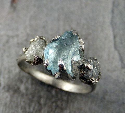 … Raw Uncut Aquamarine Diamond White Gold Engagement Ring Wedding Ring Custom One Of a Kind Gemstone …