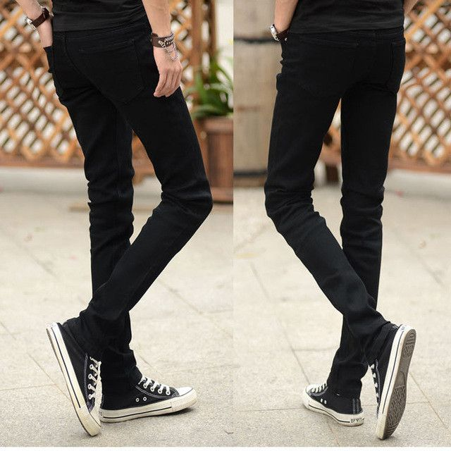 Hot Sale Men Jeans Pencil Pants Stretch Jeans Men Brand Casual Slim Fit Pants Skinny Boys Male Denim Biker Man Blue Black Grey
