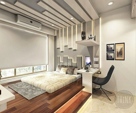 Contemporary Style bedroom space.   THiNK Interior & Architecture consultant.  thinkumang@gmail.com