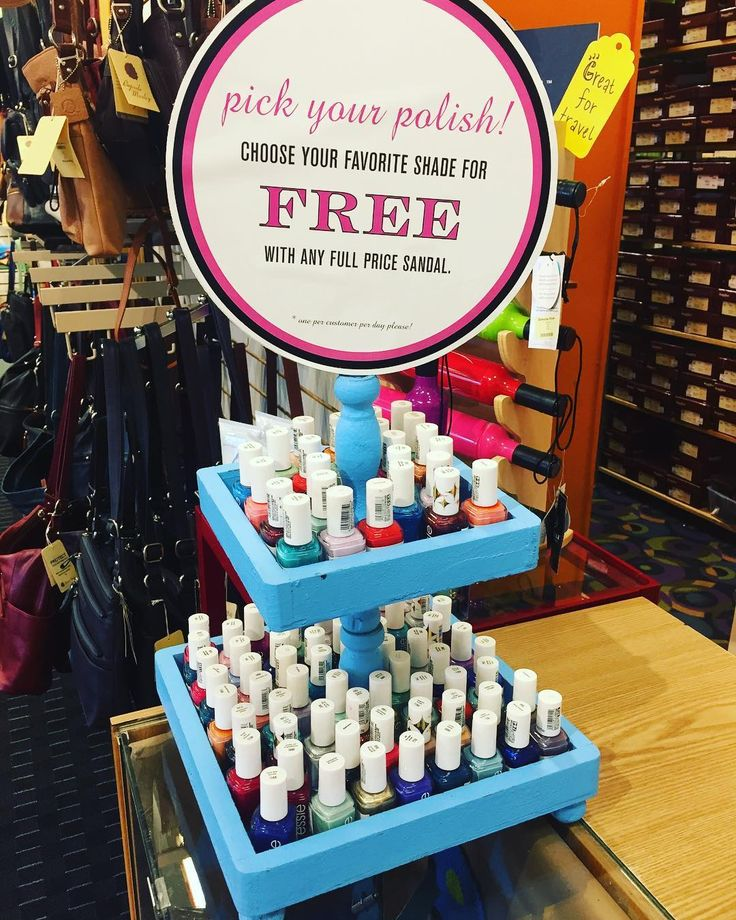 Our favorite in-store promotion has arrived just in time for the warm weather! Pick out a free Essie nail polish when you buy a new pair of sandals  . . . . . . #nails #nailpolish #sandals #shoes #promotions #fashion #shopping #giveaway #instashoes #summer #spring #sunny #warm #brookline #boston #promotion #giveaway