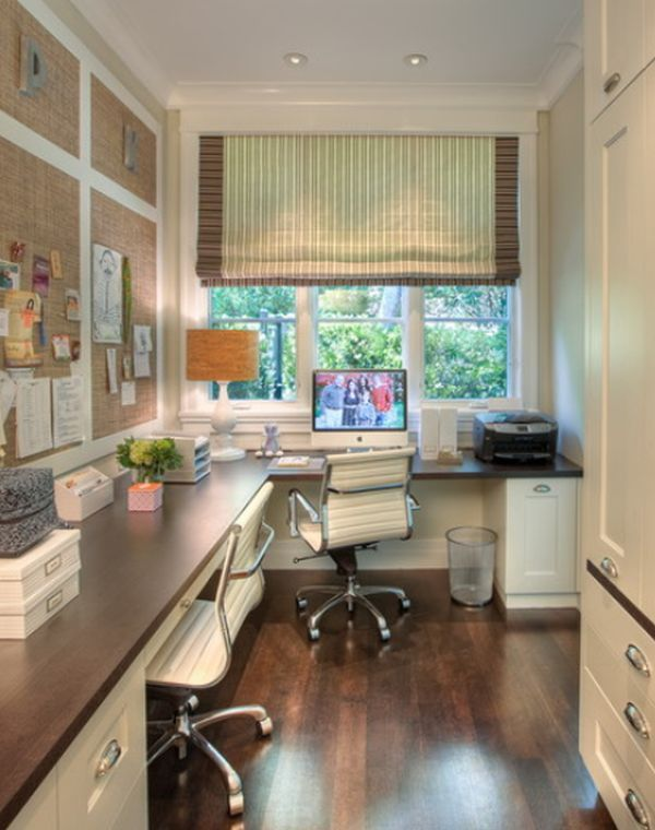 Home office made for two!  Love the pinboard arrangement, wood desk top on white cabinets and great storage cabinet.  The blinds are gorgeous.
