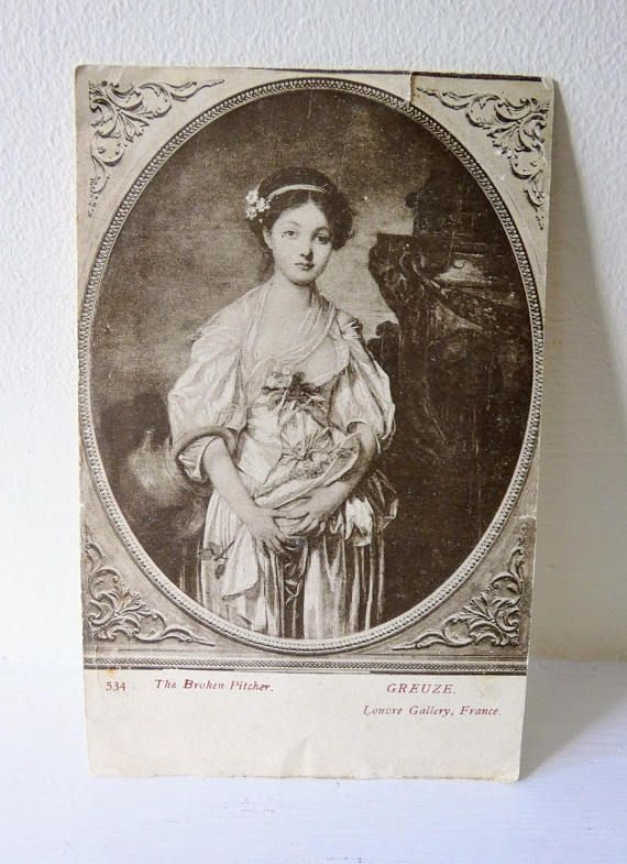 Very Pretty Antique 1909 Postcard Postage Stamp Edwardian