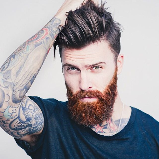 Levi Stocke - dark red beard mustache beards bearded man men mens' style hair cut barber styles tattoos tattooed ginger auburn redhead #beardsforever