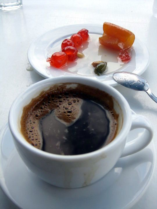 well brewed Greek coffee and spoon sweets