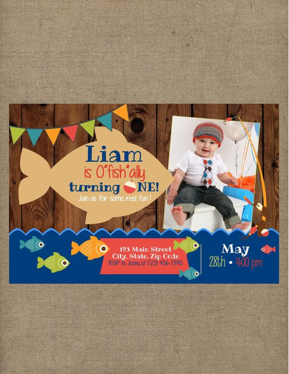 Fish Fishing Ofishally One Birthday Invitation  Big One Gone