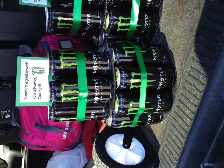 Monster energy drink cake for Lil Monsters T-ball coach end of the year gift