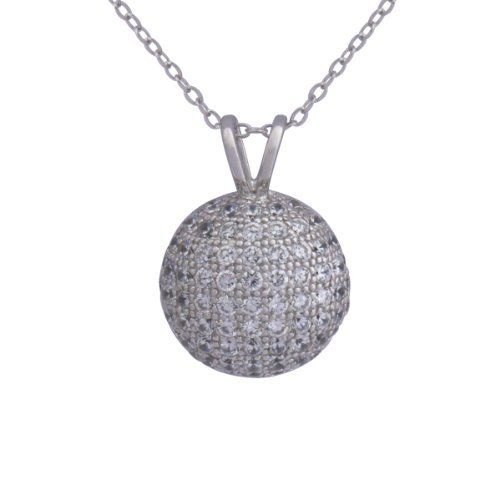 "Sterling Silver Pave Simulated Diamond Ball Pendant Necklace, 18"" Amazon Curated Collection. $49.00. Made in China. Rhodium plated. Save 67% Off!"